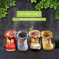 SIBAOLU Shoes Shape Ceramic Succulent plants Vase With Animal Ornaments Cute Pen Holder Storage Home Decor Pastoral Flower Vase