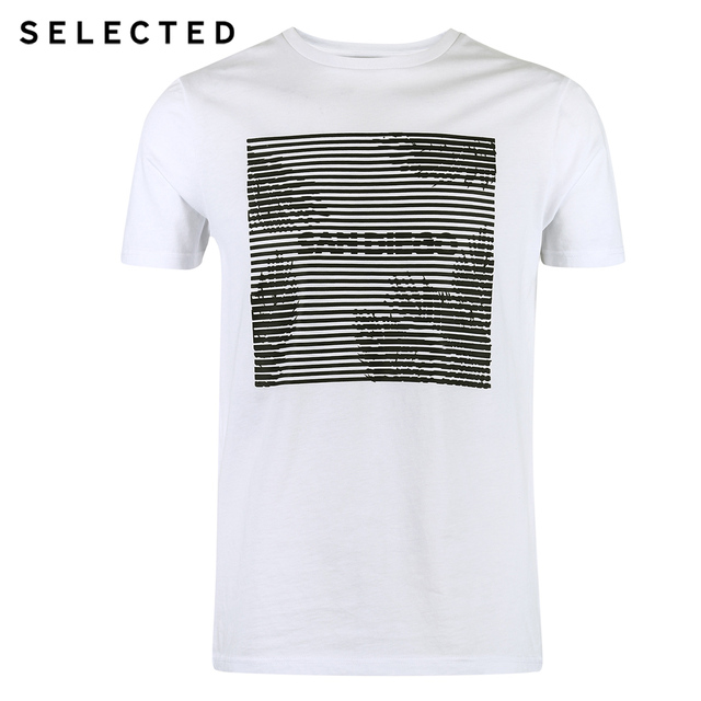SELECTED  cotton round collar short-sleeved T-shirt C|4182T4593
