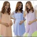 2016 verão as mulheres grávidas de manga curta chiffon blusas moda longo chiffon solta camisas de maternidade plus size chiffon t topos