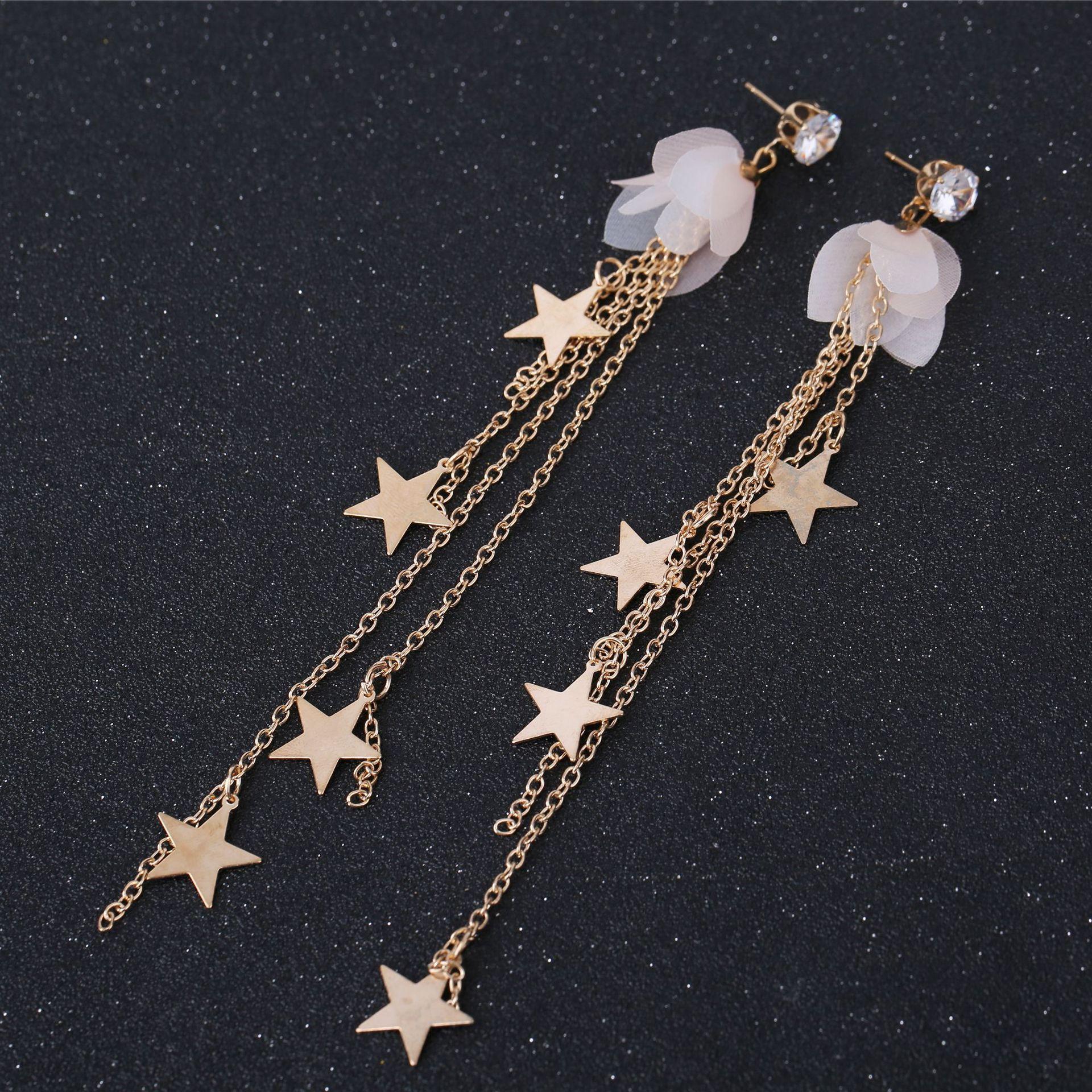 Drop Earrings Shifeel 2018 New Korea Style Fresh Bow Flower Star Pentagram Pearl Rear Hanging Earrings Temperament Sweet Pendients For Women Jewelry & Accessories
