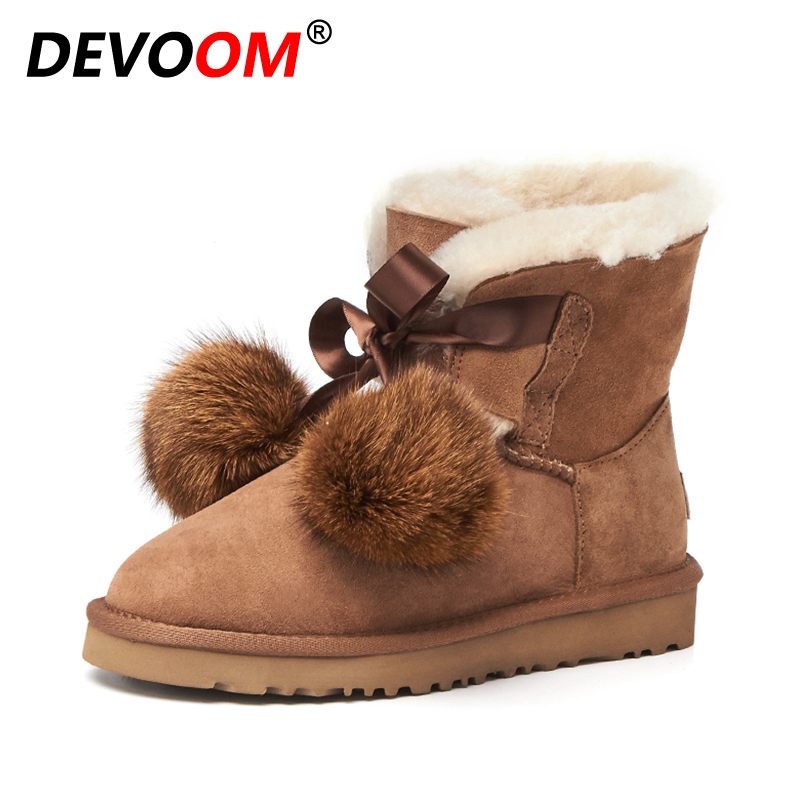 Brand Quality Cow Suede Snow Boots For Women Winter Pull-on Warm Boots Fashion Ladies Fur Plush Insole Ball Ankle Shoes Size 39 2017 new fashion women winter boots classic suede ankle snow boots female warm fur plush insole high quality botas mujer lace up