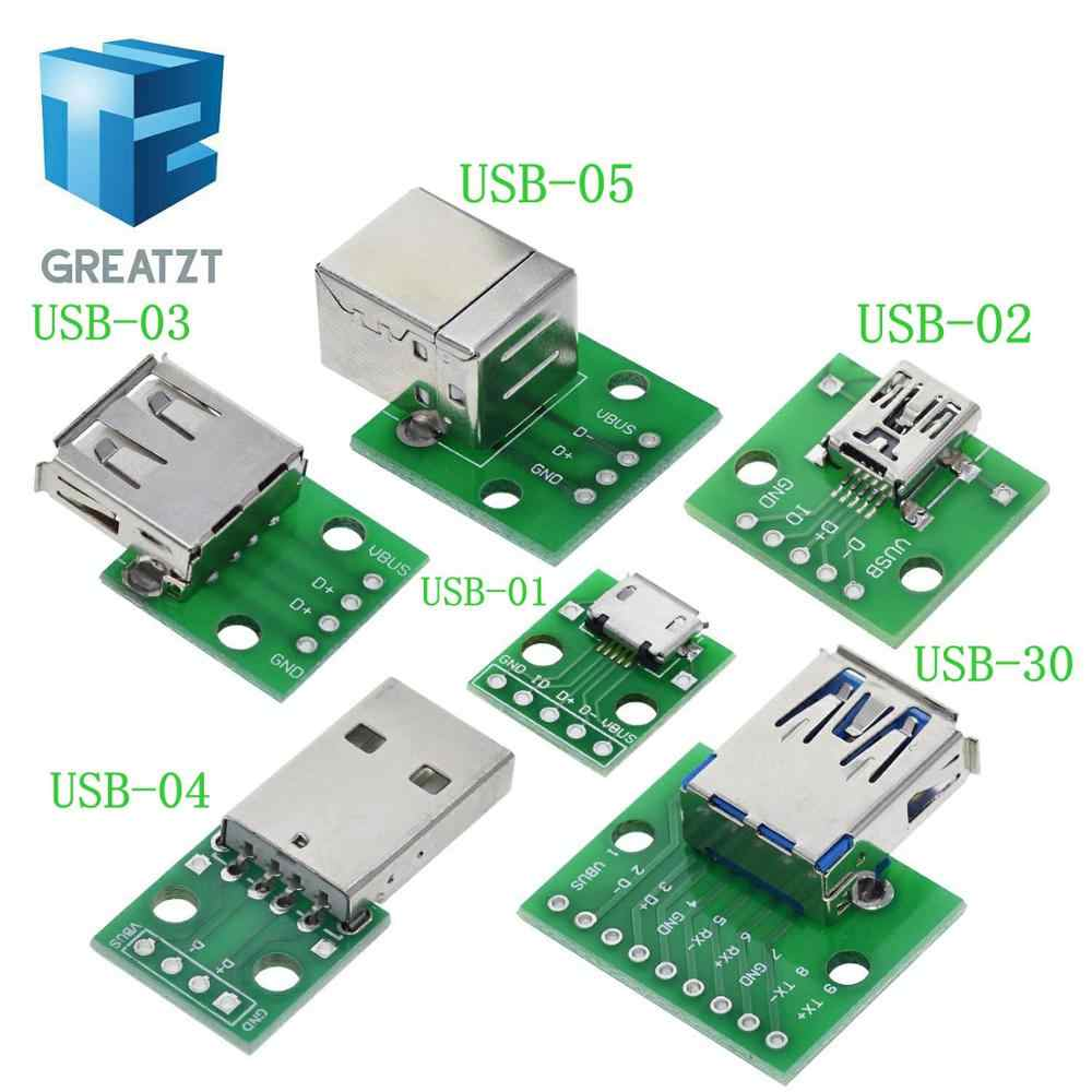 10pcs MICRO USB to DIP Adapter 5pin female connector B type pcb converter pinboard 2.54
