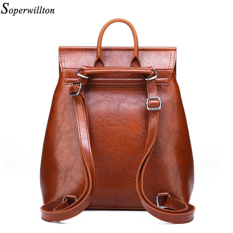 Soperwillton рюкзак Молодежная женская сумка через плечо противоугонные рюкзаки из искусственной кожи для девочек-подростков женская школьная сумка mochila