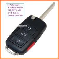 New 4 Buttons 315 Mhz Remote Control Key Fob ID48 Chip cho VW Beetle Golf Jetta Passat GTI 2002-2006 FCC ID: 1J0 959 753 AM