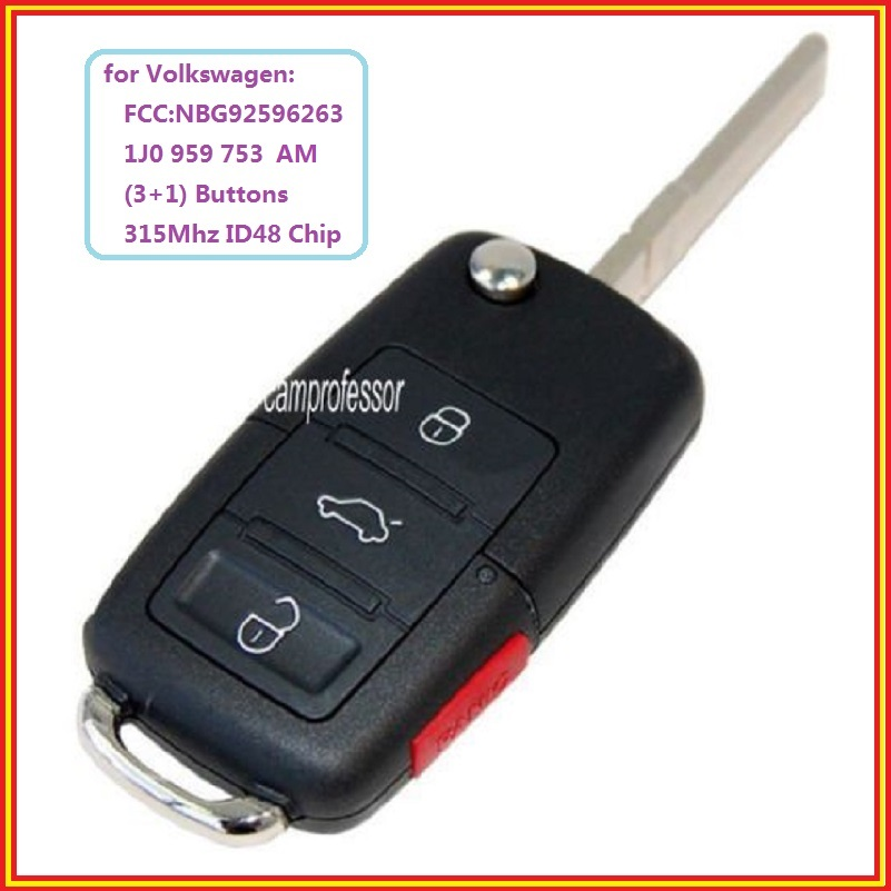 2002 Volkswagen Jetta Key: New 4 Buttons 315Mhz Remote Control Key Fob ID48 Chip For
