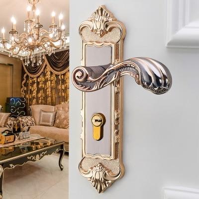European Style Mute Door Handle Interior Lock Anti-theft Vintage Furniture  Gate lock for Bedroom with Key Wooden door lock