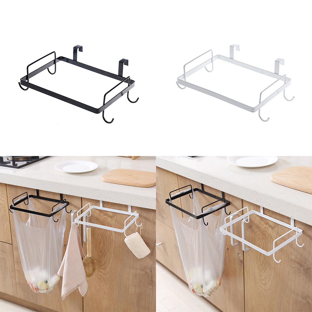 Iron Creative Kitchen Large Garbage Bags Holder  Wash Cloth Towel Storage Rack Hanging Cupboard Cabinet Organizer Shelf