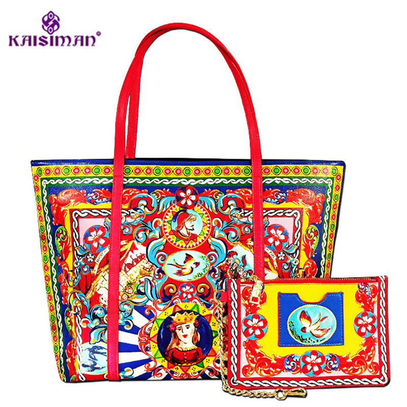 Luxury Brand Vintage Print High Grade Leather Tote Bag Women Shopper Bag Ethnic Style Handbag Purse