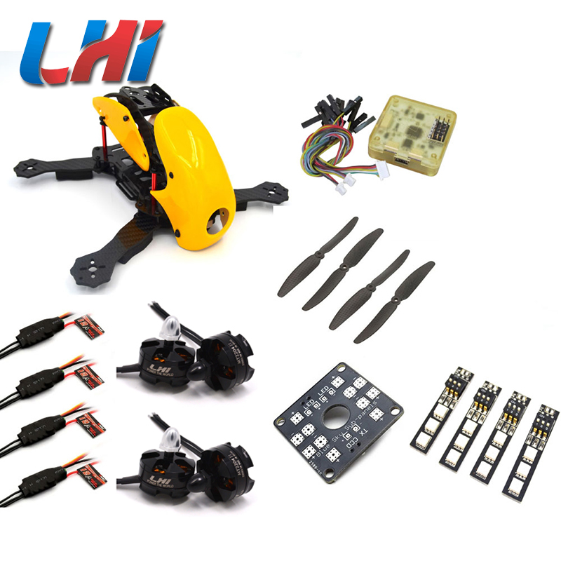 Robocat 4-Axis Carbon Fiber Quadcopter Frame CC3D LHI 2204 Motor 12A ESC props ~Yellow carbon fiber mini qav250 c250 quadcopter frame motor 12a esc cc3d flight control