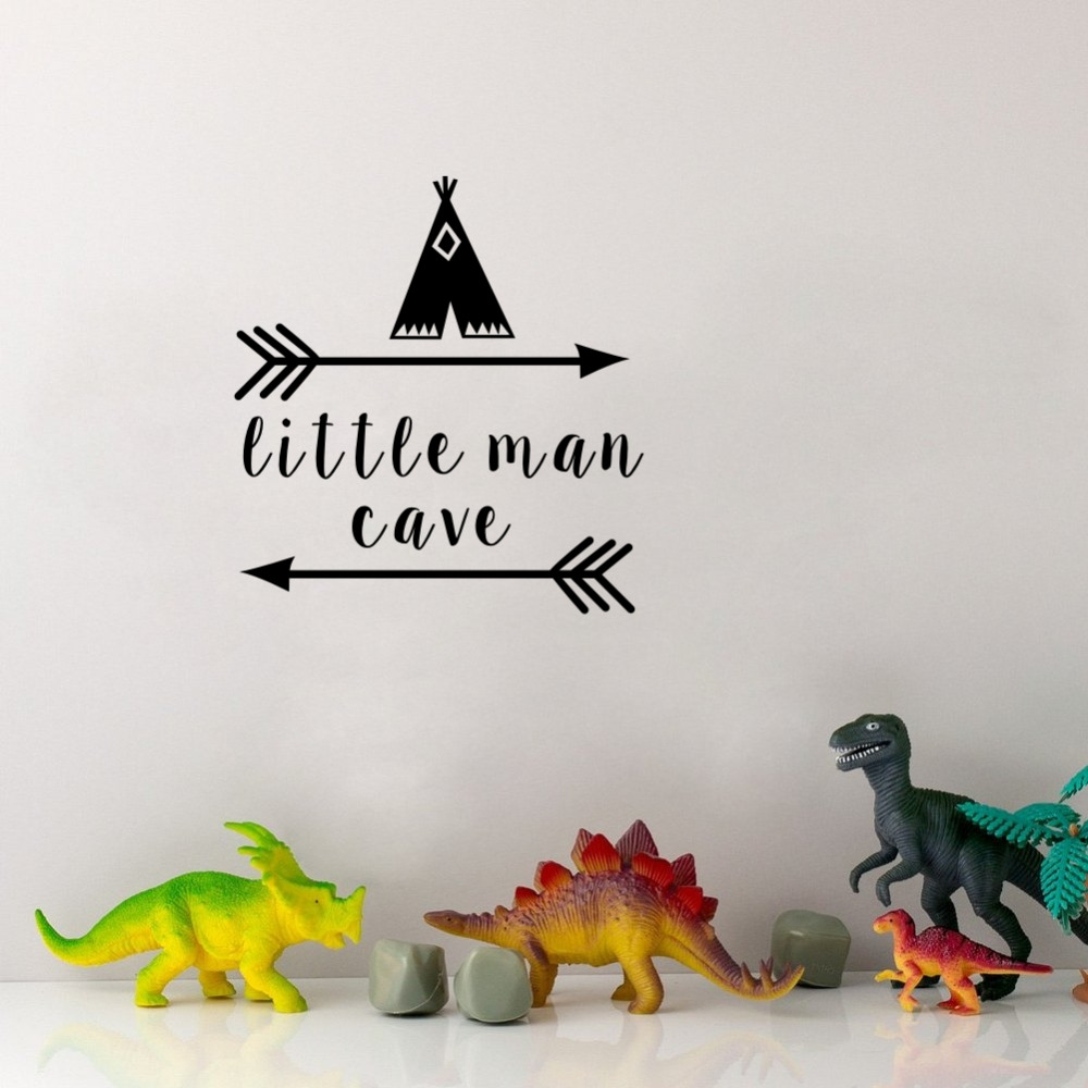 Little Man Cave Wall Decals Quote Words Nursery Boys Room Wall Decor Stickers