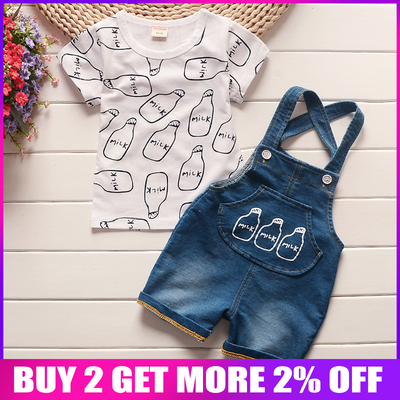 BibiCola Baby boys clothing sets baby summer products bebe cotton tops + bib shorts 2 pcs suit infants for baby clothing