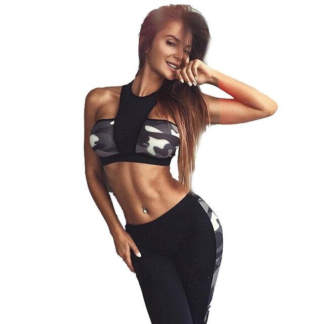 726c4cda0bca9 Women Clothing Workout Outfits Black Camo Patchwork Sexy Crop Tops Sports  Bra Long Pants Gym Fitness Yoga 2 Piece Set 351138