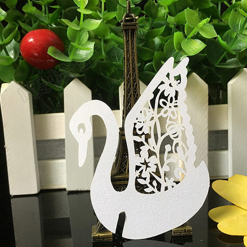 50PCS 10Color Laser Cut Swan Wedding Invitation Place Card  Escort Card  Cup Card Wine Glass Name Card For Wedding Decor