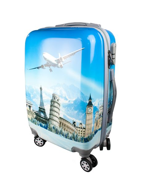 Fashionable suitcase with print PROFFI TRAVEL PH8647, S, plastic, with combination lock 4680477008639 fashionable suitcase with print proffi travel ph9209 m plastic medium with combination lock
