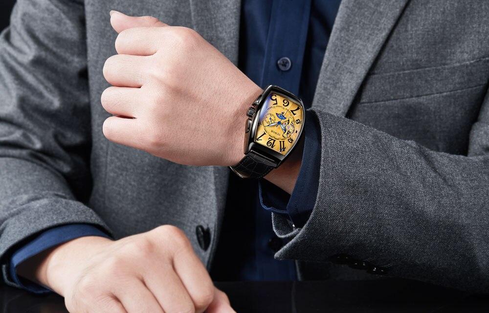 HTB1wEuwXvOzK1Rjt jDq6zJwpXaw SEWOR New Black Gold Tonneau Tourbillon Automatic Mechanical Watch Men Genuine Leather Strap Men Clock Male Men Wristwatches