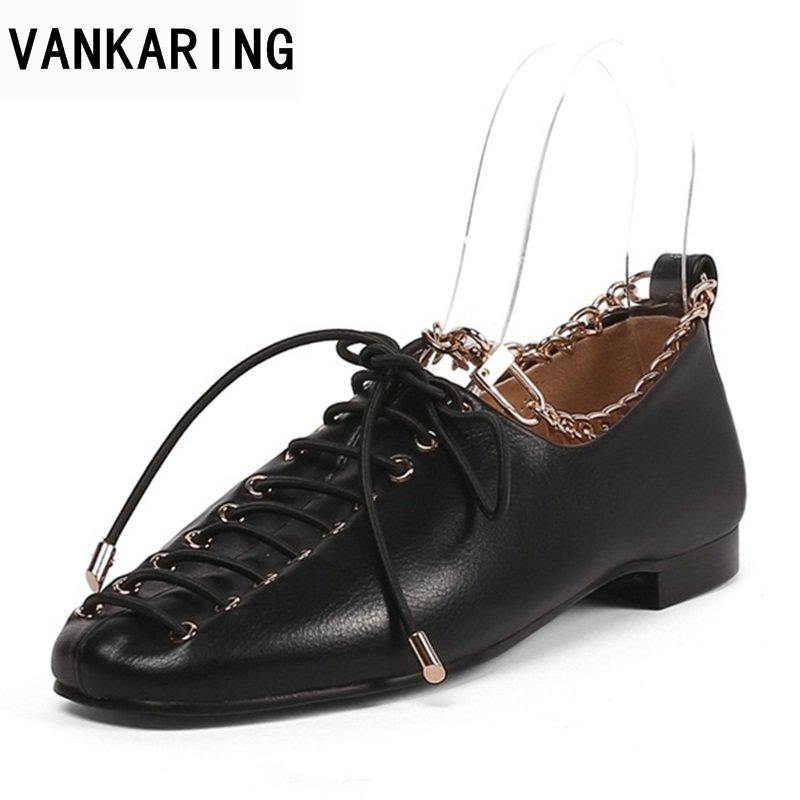 VANKARING best sellers fashion pumps 2019 spring autumn casual single shoes black leather shoes lace-up retro ladies dress shoesVANKARING best sellers fashion pumps 2019 spring autumn casual single shoes black leather shoes lace-up retro ladies dress shoes