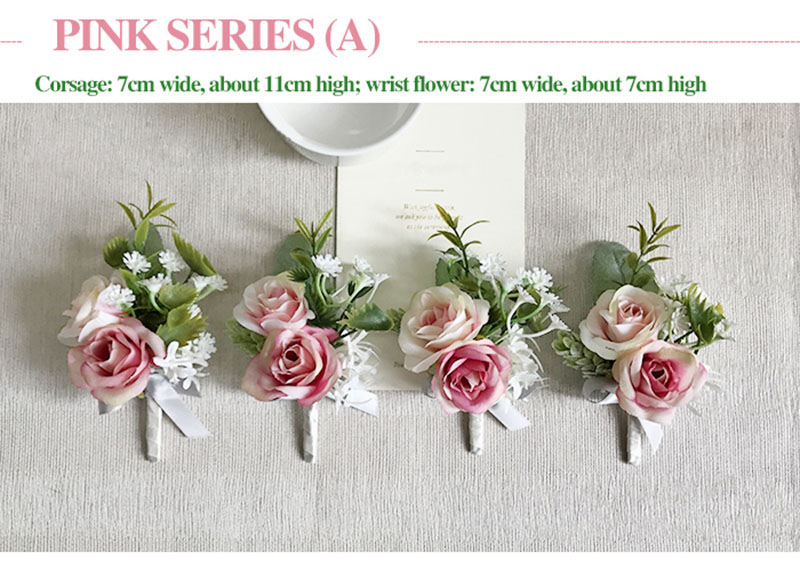 bridal wrist corsage Groom Groomsman boutonniere Brooches rose artificial wedding flower  (11)