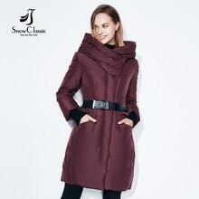 Snowclassic Новая Коллекция пуховик зимний женский 2016 Куртка с Капюшоном Теплый Длинный Пуховик Теплое пальто современный фасон 16260L