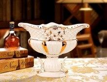 De lujo casa de artesanía de cerámica adornos plato de fruta sala de estar Europea ornamento ornamentos