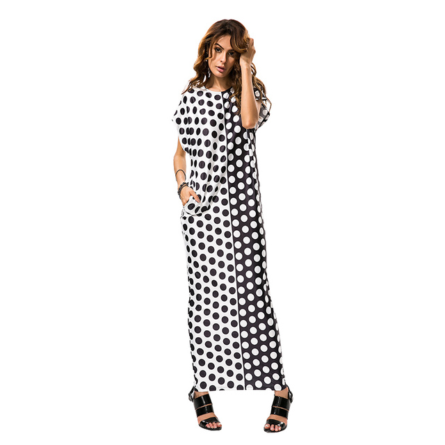 9a8db6c3c1cb Aproms Black Dot Print White Long Maxi Dress Women Summer Gypsy Casual Short  Sleeve Beach Dresses Loose Tunic Dress