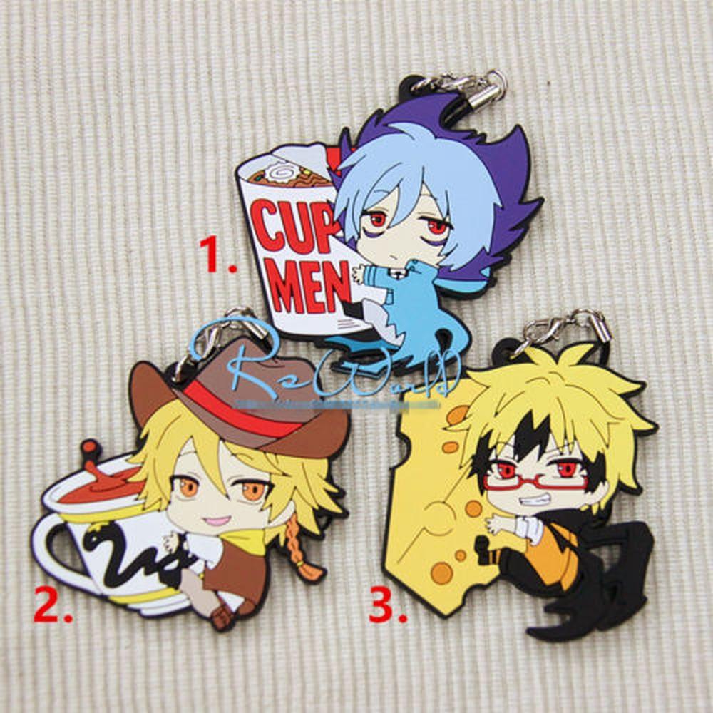 Servamp Mahiru Shirota Kuro Tsubaki Hug Rubber Keychain Keyring Strap Anime Be