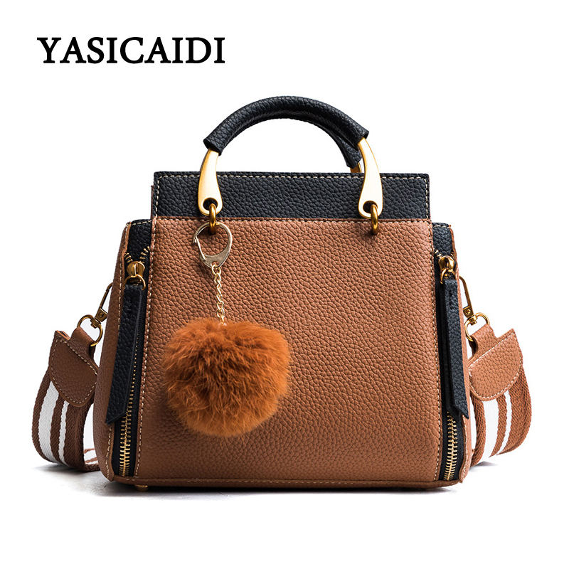 Fur Ball Women Bag Handbags Ladies Shoulder Bags Striped Shoulder Strap Women Bag Fashion Patchwork Tote Women Top-Handle Bags