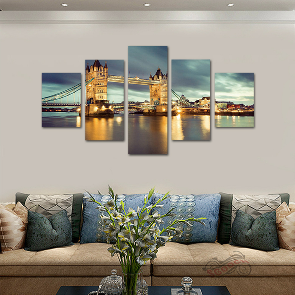 Unframed 5 panel HD Canvas Wall Art Giclee Painting Tower Brid Landscape For Living Room Home Decor Unframed Free shipping