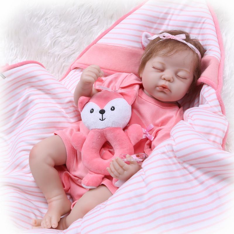 NPK new Boneca Reborn 20inches Soft Silicone Vinyl Dolls 50cm Soft Silicone Reborn Baby Doll Newborn Lifelike Bebe Reborn Dolls