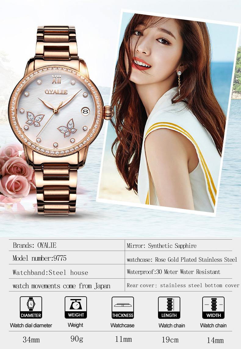 427b03fa5ff7 Oyalie reloj automático de las mujeres de lujo relojes de pulsera mecánicos  fecha luminosa damas reloj mariposa doble dial reloj de banda de acero