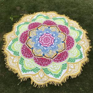 Image 4 - Women Chic Tassel Indian Mandala Tapestry Lotus Printed Bohemian Beach Mat Yoga Mat Sunblock Round Bikini Cover Up Blanket