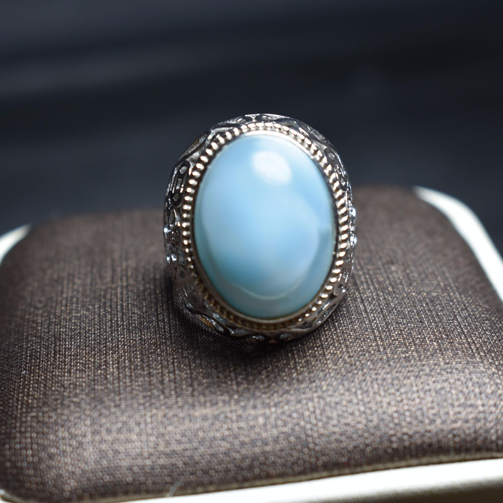 Fine Jewelry Real 925 Steling Silver s925 100% Natural Blue Larimar Gemstones Female Fine Rings Christmas Gift fine jewelry real 925 steling silver s925 100