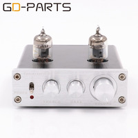 New Mini 6J1 Vacuum Tube Preamp Preamplifier Stereo Treble Bass Tube Buffer Control HIFI AUDIO Silver Black 1PC