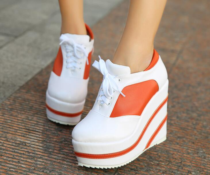 Zapatos mujer high platform wedge high heel shoes for women orange and black heels ladies sxey comfortable casual lace-up heels 2018 wedge high heels thick soled high top ladies casual shoes women platform canvas shoes hidden wedge heel boots zapatos mujer