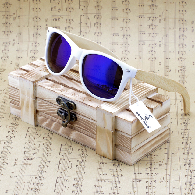 BOBO BIRD Brand Luxury Coated Sunglasses for Men and Women Bamboo Wood Holder Polarized with Wood Box Driving Sunglases 2017