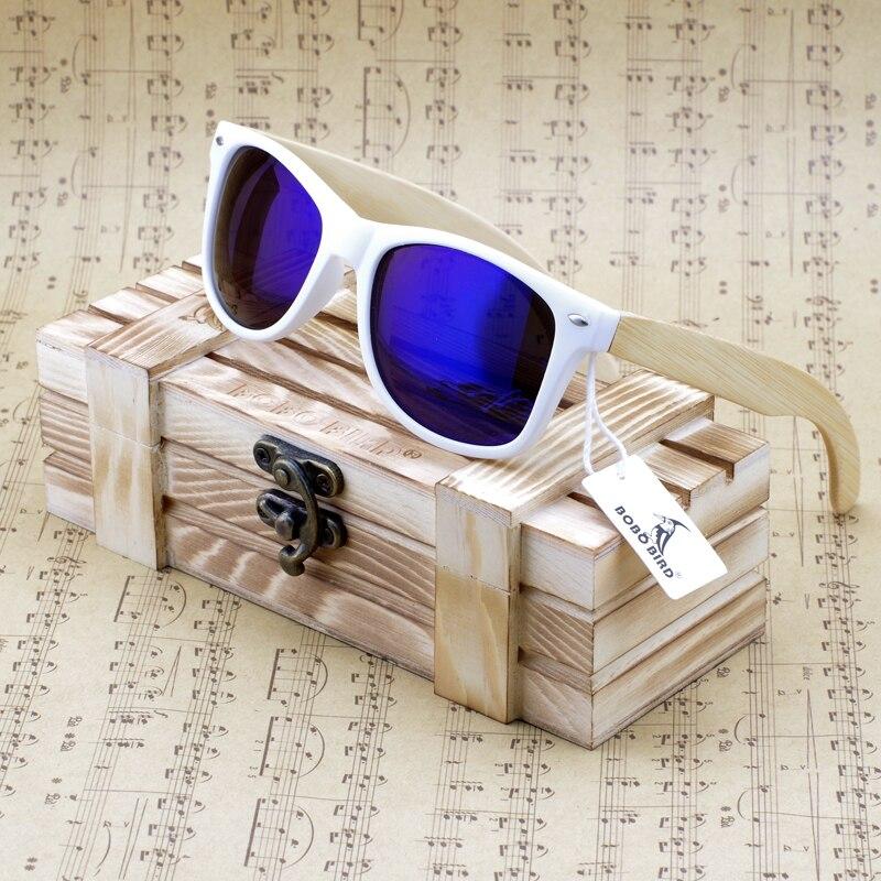 BOBO OISEAU Marque De Luxe Enduit lunettes de Soleil Hommes et Femmes Bambou bois Titulaire Polarisées avec Boîte En Bois Conduite Sun Glases 2017 CG007