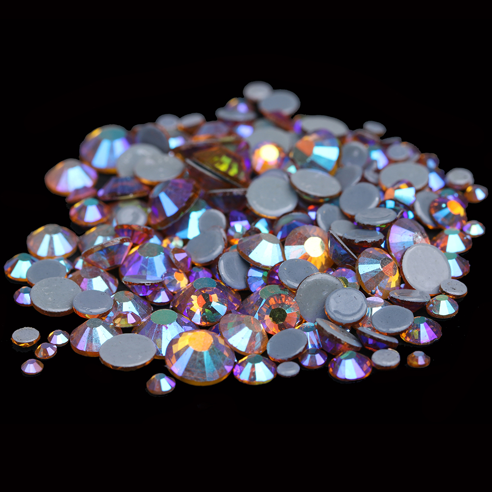 Glass Iron On Strass For Garment Flatback Round Hotfix Rhinestones With Glue Backing Strass for DIY Topaz AB Color volcano color dmc flatback crystals hot fix rhinestones glass garment accessories gray glue ss6 ss8 ss10 ss16 ss20 ss30
