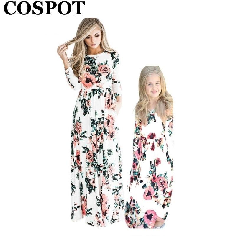 COSPOT madre e hija vestido largo mamá y Niña Floral Boho playa Vestido Mujer noche fiesta vestido Niñas Ropa 2019 nuevo 45E