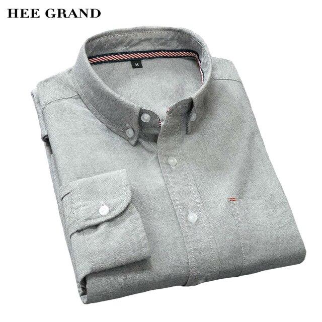 HEE GRAND мужские Рубашки Повседневные С Длинным Рукавом Бизнес Тонкий Хлопок Рубашки Оксфорд Сплошной Цвет Плюс Размер М-5XL MCL1431