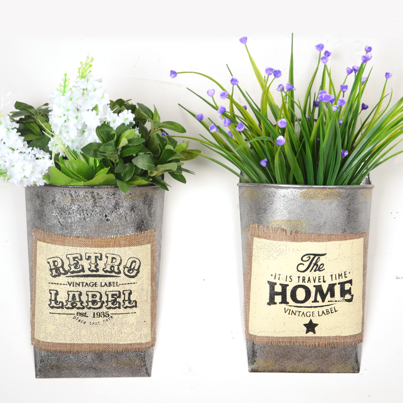 2PCS/SET Creative American Style Retro iron <font><b>Flower</b></font> arrangement Wall Hanging Tin Bucket Home Garden Supplies