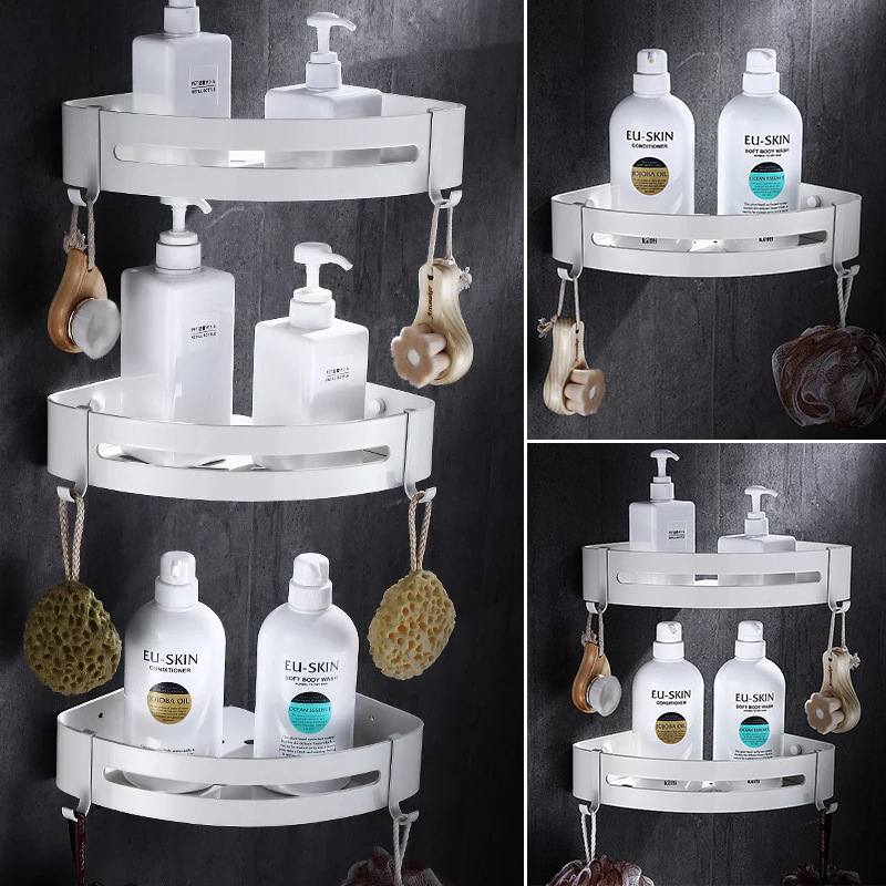 Tuqiu Bathroom Corner Shelf Wall Mounted White Aluminum Bathroom Shower Shelf Bath Shampoo Holder Basket Holder Corner Shelf