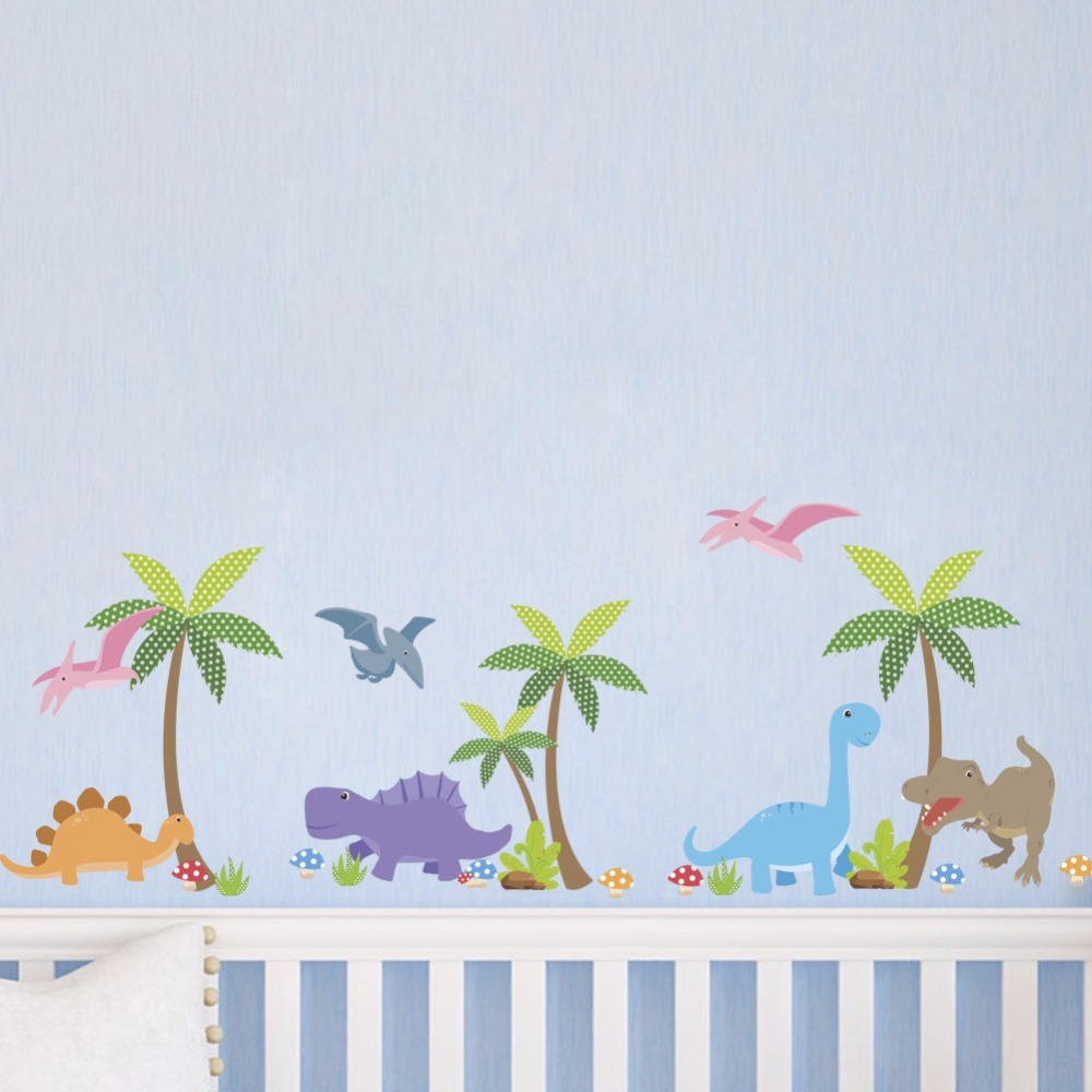 % Cartoon animal Dinosaurs landscape Wall Stickers Kids Rooms Boy room Decoration effect Wall Decals Poster Wall paper mural