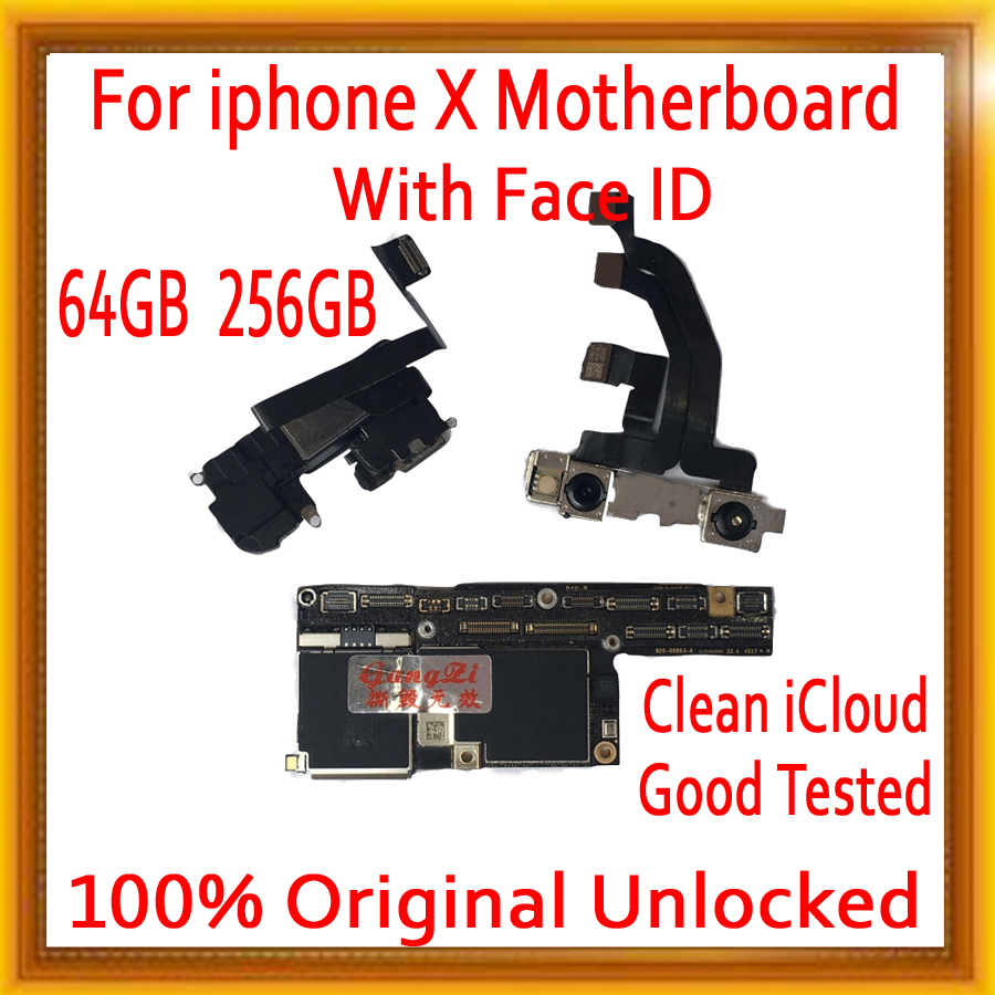 64GB 256GB With Face ID/No Face ID For IPhone X Motherboard Unlocked,100% Original For Iphone X Logic Board With Free ICloud