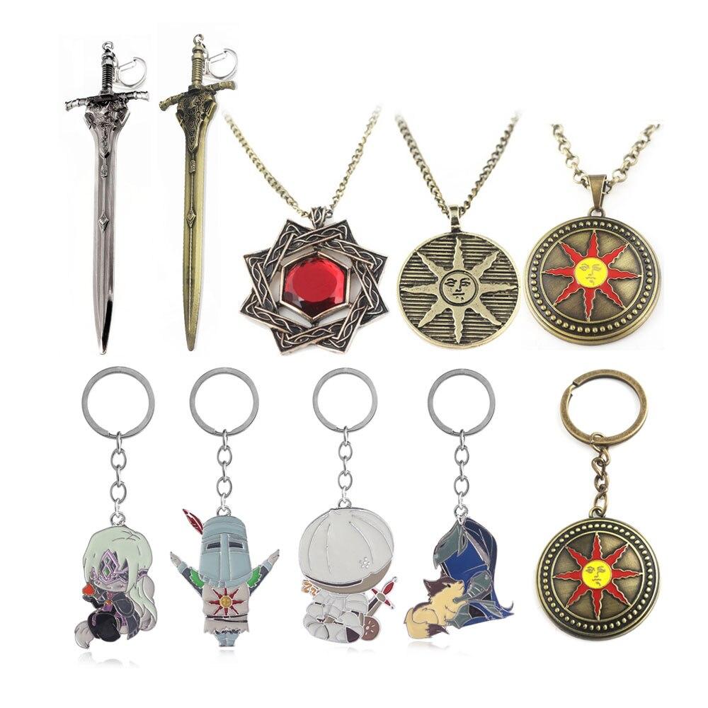 US $18 0 10% OFF|Wholesale Dark Souls 3 Artorias Sword Keychain Sun Sollar  Fire Keeper Knight Key Chain for Women Men Fans Choker Keyring Jewelry-in