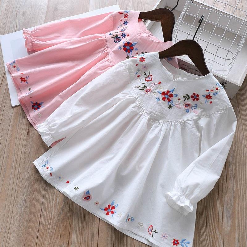 Spring 2019 Children s Dress Embroidered Peach Heart Girls short Dress Skirt Unlined Upper Garment Wholesale