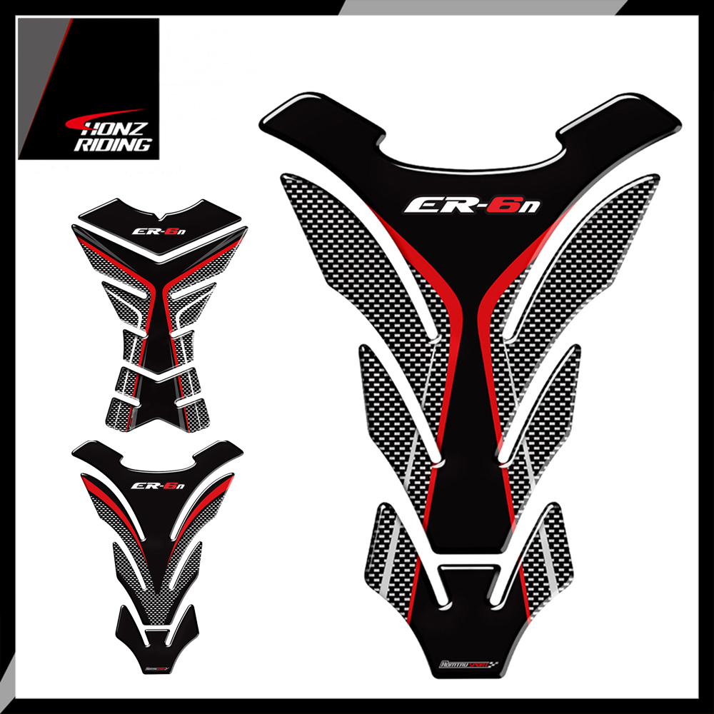 For Kawasaki ER6N ER-6N Tankpad 3D Carbon-look Motorcycle Tank Pad Protector Decal