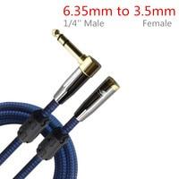 Stereo 1/4 ''Männlichen 6,35mm bis 3,5mm Buchse Adapter Audio Kabel für Headset Kopfhörer Verstärker Mischpult 1 mt 2 mt 3 mt 5 mt