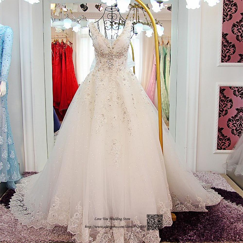 Christmas wedding dress korean - Vestidos De Noivas Real Luxury Wedding Dresses 2017 Lace Crystals Sequin Wedding Gowns Ball Gown Korean