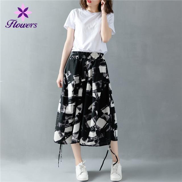 d60ae9fa6b New Plaid Pants Plus Size Summer Women Clothing Korean Fashion Elastic High  Waist Loose Casual Seven Points Wide Leg Pants LCR36
