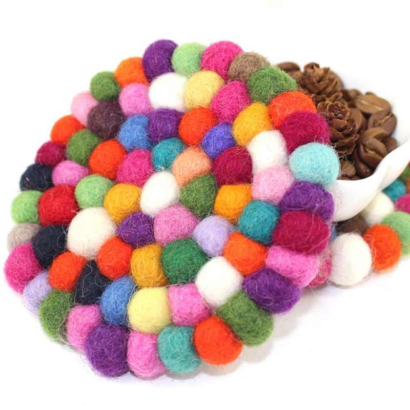 3 colors 10*10cm Cup Round square Coaster Handmade Wool Felt Ball Heat Resistant Mat Trivet Table