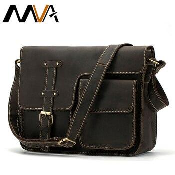 f049afa61cc3 МVA сумка кожаная большая мужская сумка мужская подлинная кожаная сумка  мужские сумки из натуральной кожи сумка через плечо мужская сумочки.